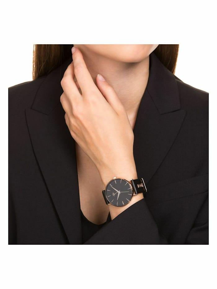 Quarzuhr Runde Damen Uhr von JOOP!, Edelstahl mit IP Rose und schwarzem Lederarmband