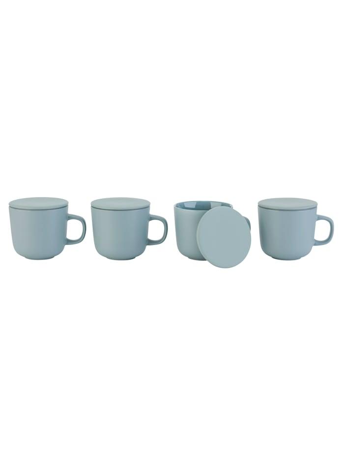 IMPRESSIONEN living Kaffeebecher-Set, 4-tlg., inklusive Deckel, taubenblau