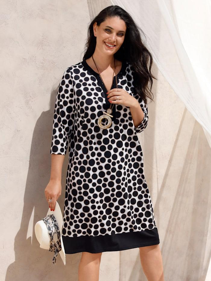MIAMODA Šaty s jiskřivými nýty podél výstřihu, Béžová/Černá/Přírodní bílá