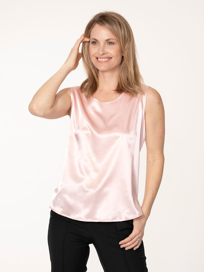MONA Top aus elastischem Satin, Rosé