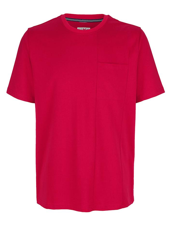 Roger Kent T-Shirt mit modischer Teilungsnaht, Rot