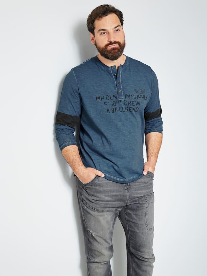 Men Plus Henley Langarmshirt aus reiner Baumwolle, Marineblau