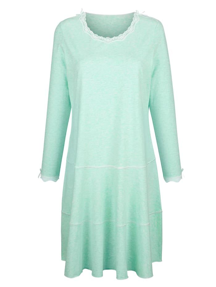 Simone Nachthemd met satijnen strikje en kant, Mint/Ecru