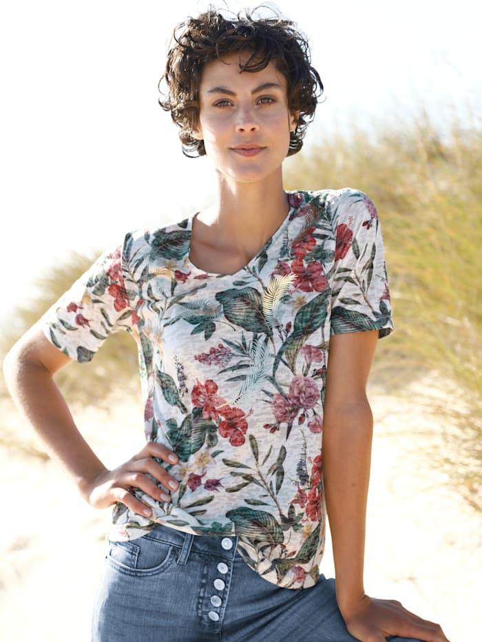 Dress In Shirt in Ausbrenneroptik, Off-white