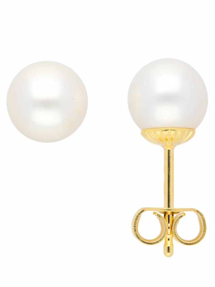 1001 Diamonds 1001 Diamonds Damen Goldschmuck 585 Gold Ohrringe / Ohrstecker mit Süßwasser Zuchtperle Ø 7 mm, gold