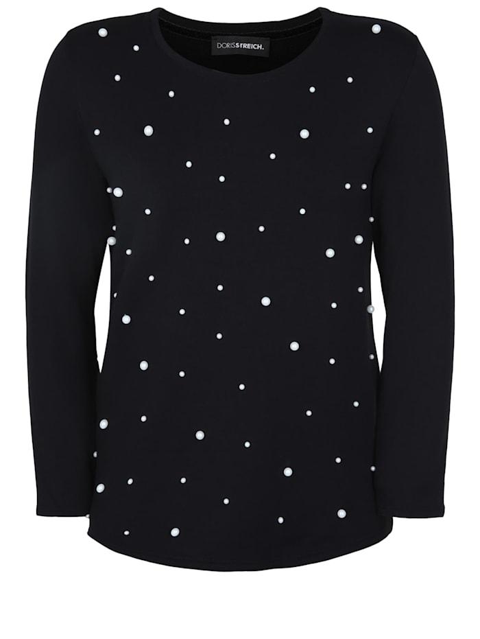 Doris Streich Langarmshirt mit edlen Perlen-Applikationen Perlen, schwarz