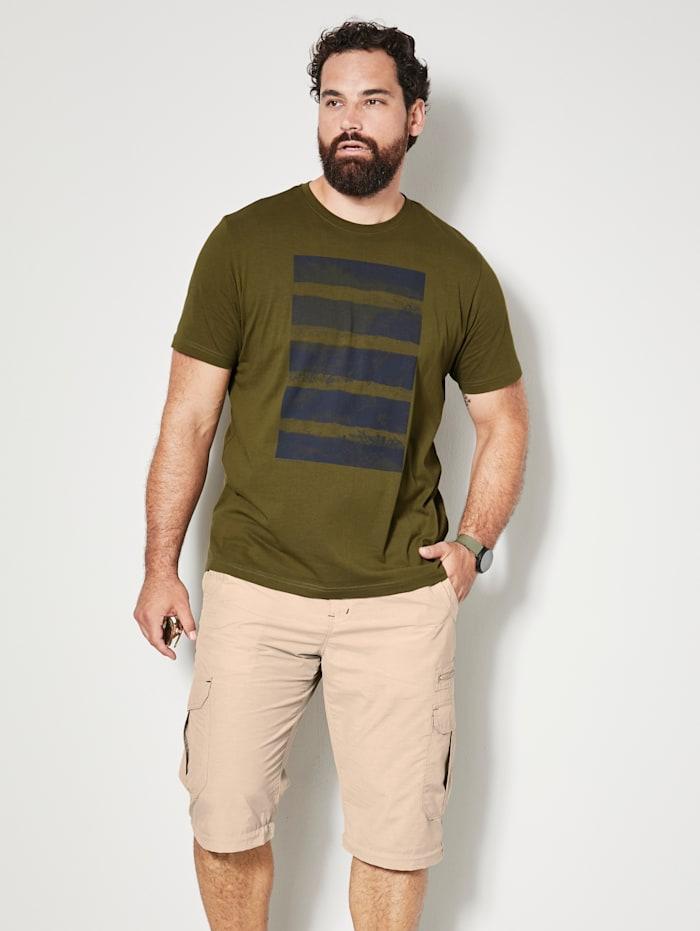 Men Plus T-shirt van sneldrogend materiaal, Olijf/Marine