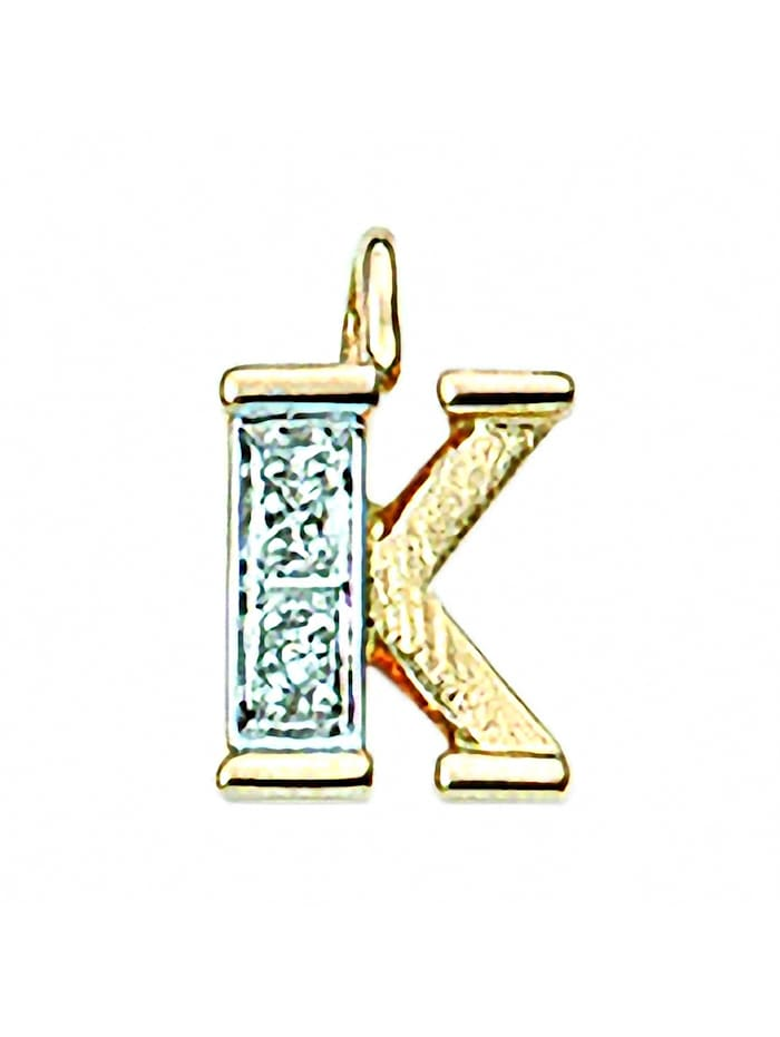 1001 Diamonds Damen & Herren Goldschmuck 585 Gold Buchstabenanhänger mit Diamant, gold
