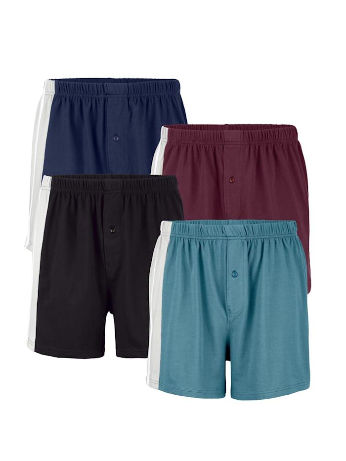 Boxershorts, Turquoise/Marine/Bordeaux/Zwart