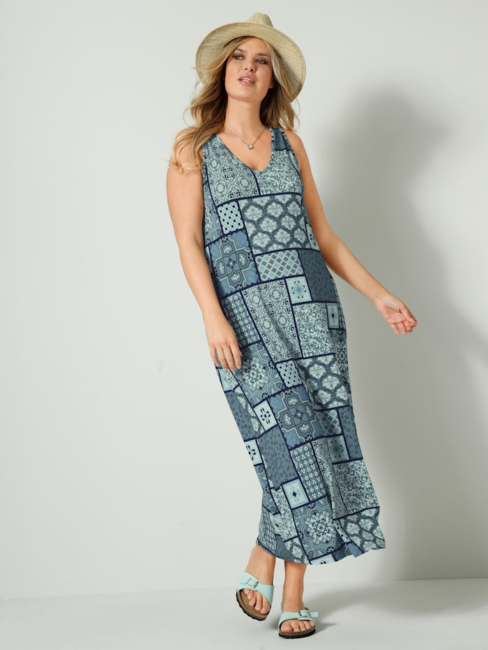 Maxi šaty s prodlužujícím výstřihem do V