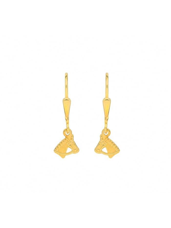 1001 Diamonds Damen Goldschmuck 333 Gold Ohrringe / Ohrhänger Pferdekopf, gold