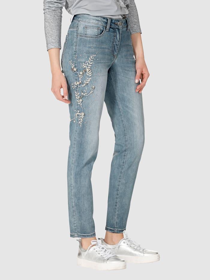 AMY VERMONT Jeans mit Perlen- und Strasssteindekoration, Blue stone