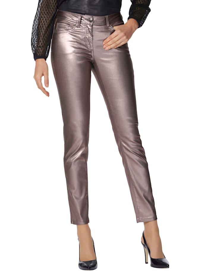 AMY VERMONT Hose in silberfarbener Beschichtung, Silberfarben