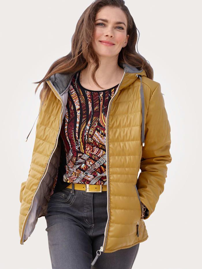 MONA Jacke aus Lederimitat, Gelb/Grau