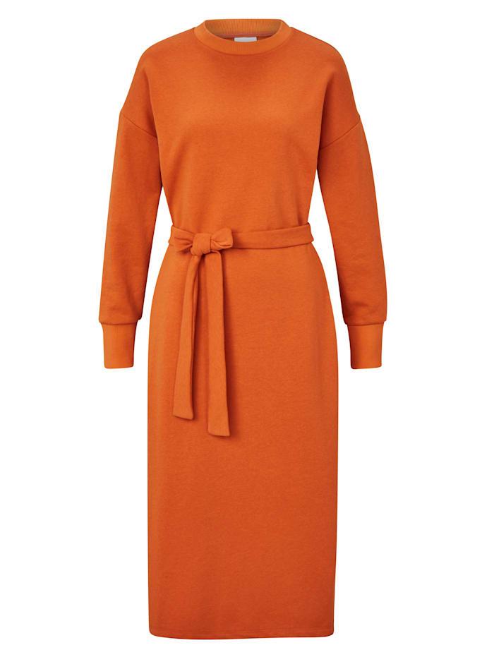REKEN MAAR Sweatkleid mit Bindegürtel, Orange
