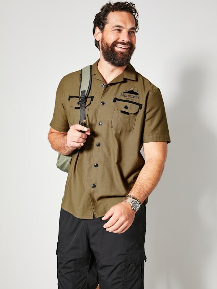 Men Plus Overhemd van zuiver katoen, Olijf/Zwart