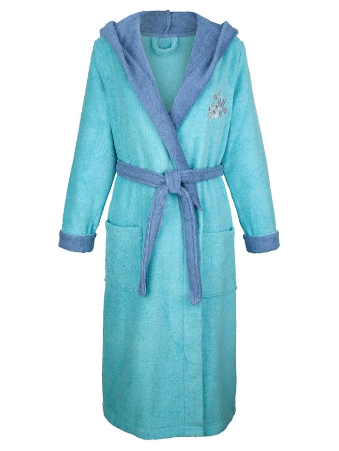 Blue Moon Badjas met mooi bloemenborduursel, Jadegroen/Rookblauw
