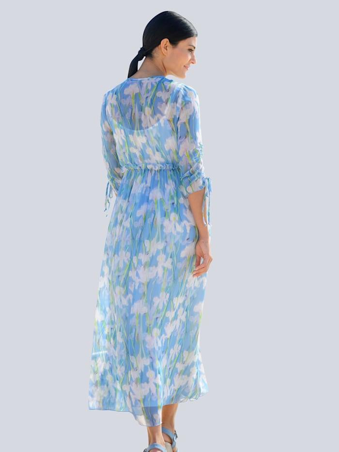 Kleid im farbharmonischen Blumendruck allover