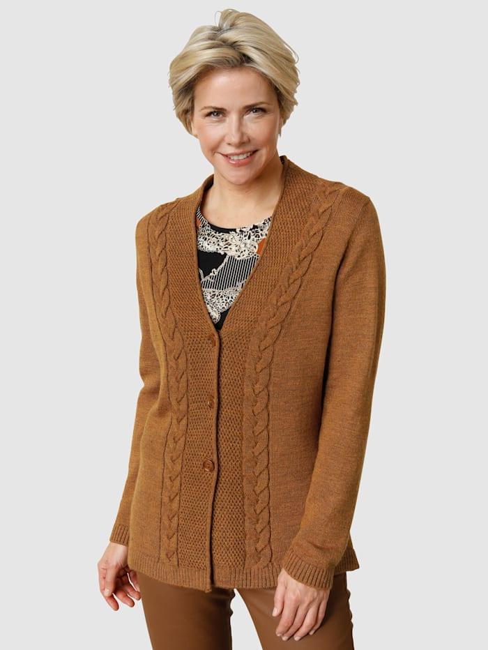 MONA Vest met wol en gemêleerd garen, Cognac
