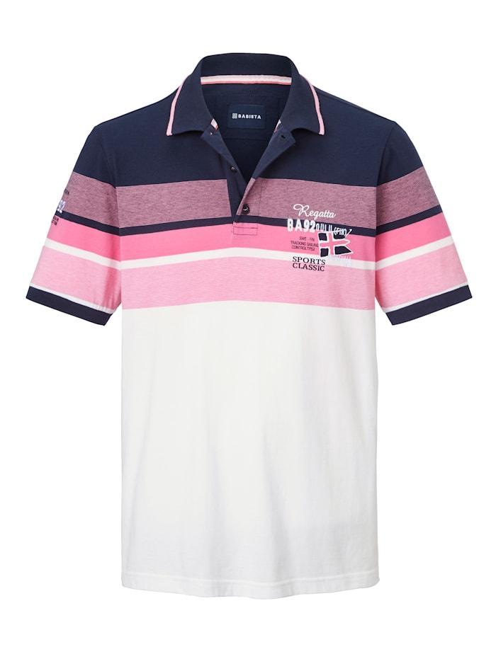 BABISTA Poloshirt met print en borduursel, Wit/Pink/Marine