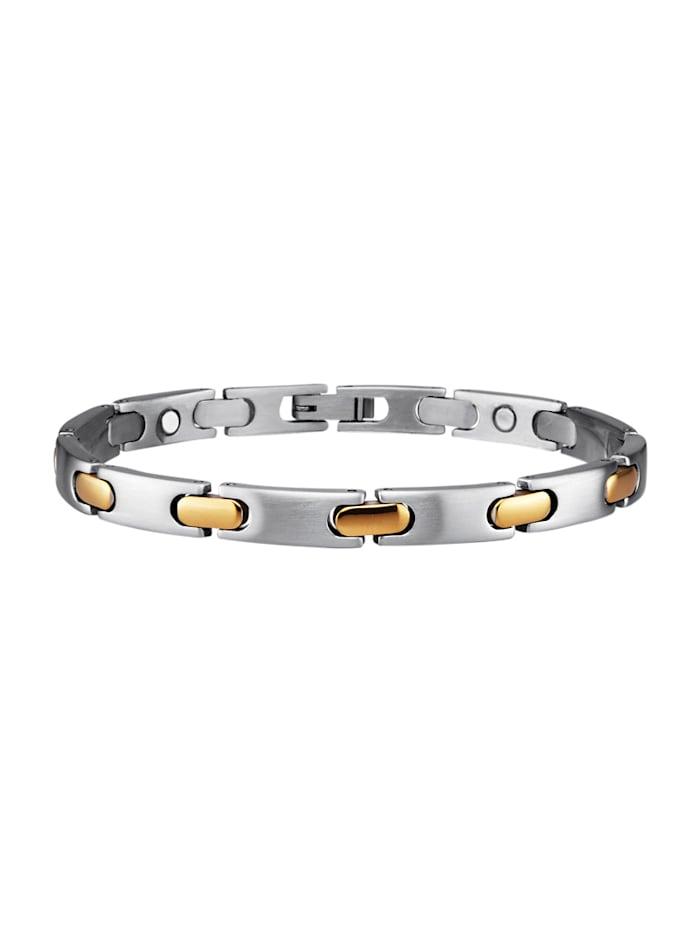Magnetic Balance Armband aus Edelstahl, teilweise vergoldet, Silberfarben