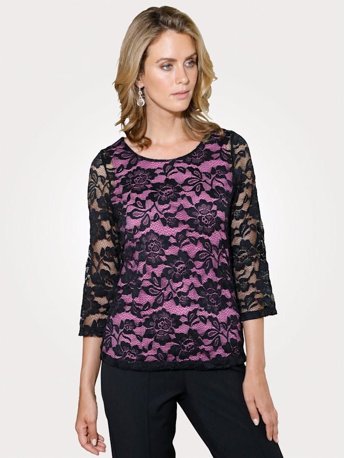 MONA Shirt mit Floralmotiven, Schwarz/Pink