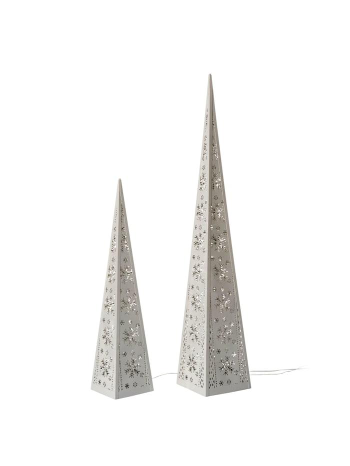 Living LED-Pyramiden-Set, 2-tlg., Weiß