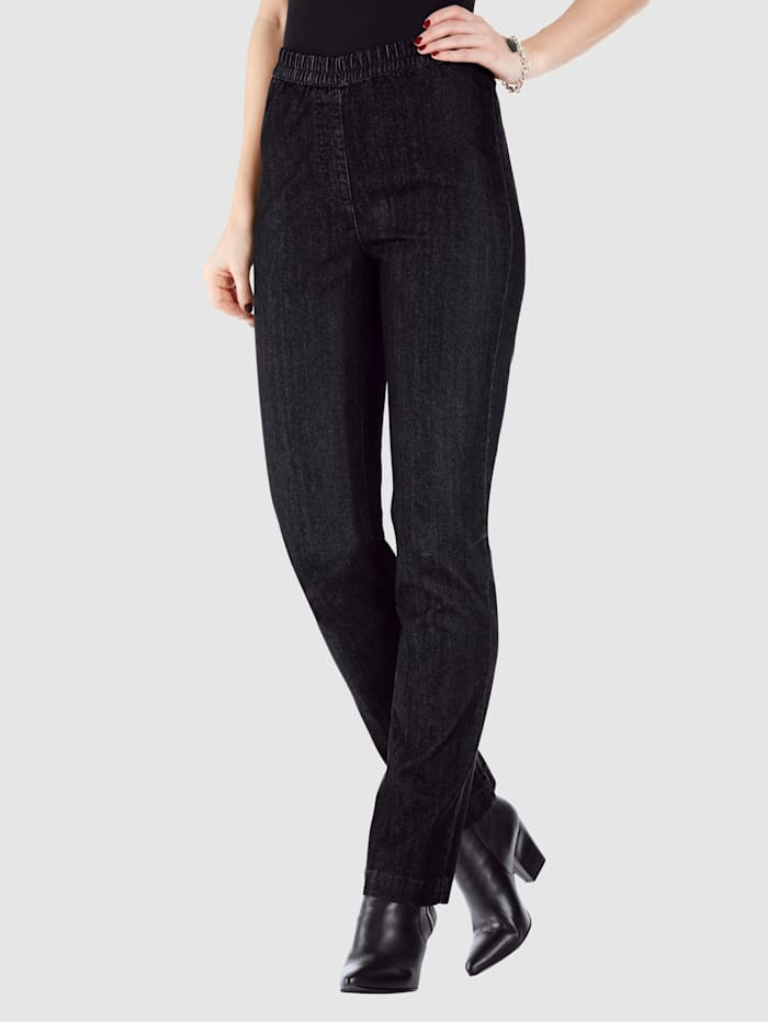 MIAMODA Jeans met comfortabele, elastische band, Black stone