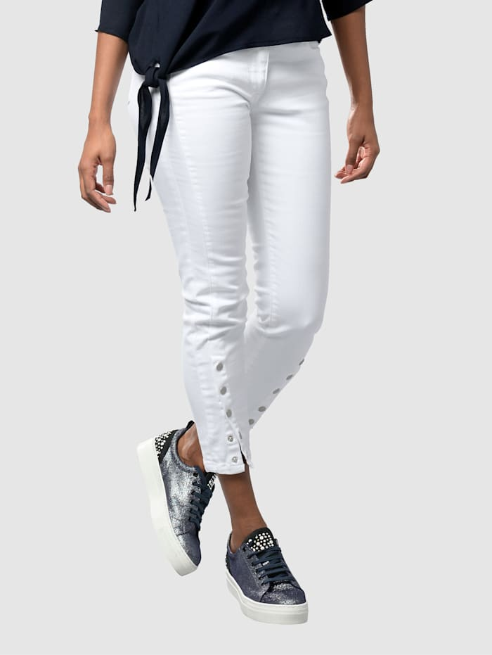 Alba Moda Džínsy Skinny Fit s patentnými gombíkmi na ukončení, Biela
