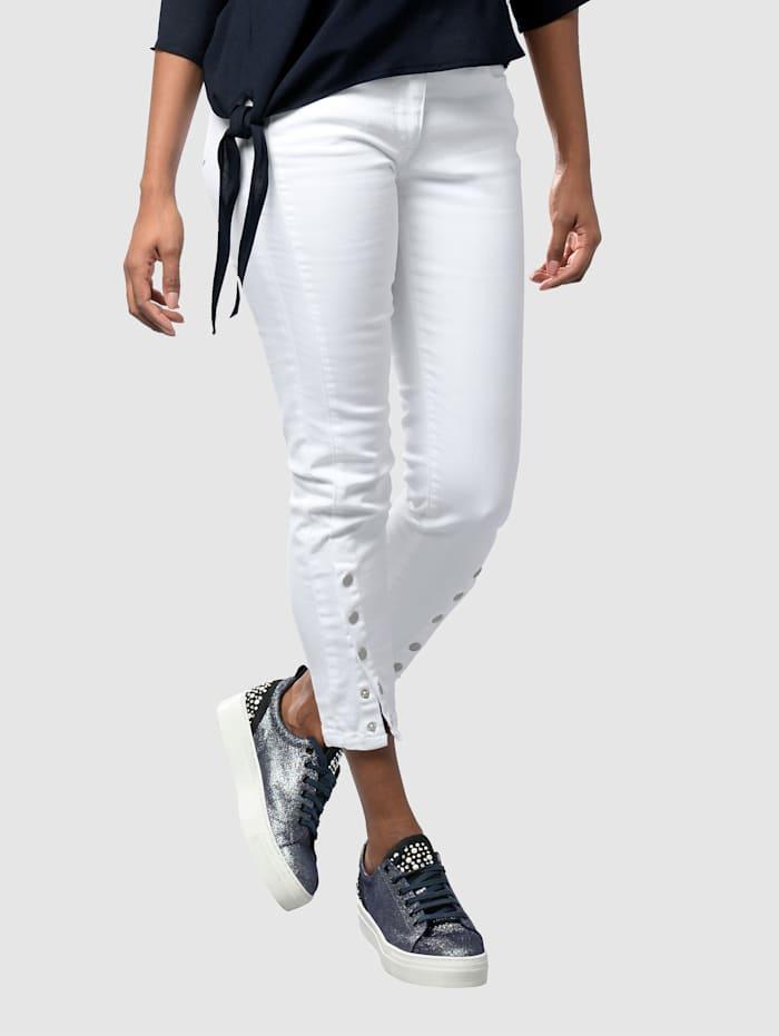 Alba Moda Jeans met drukknopen aan de pijpzomen, Wit