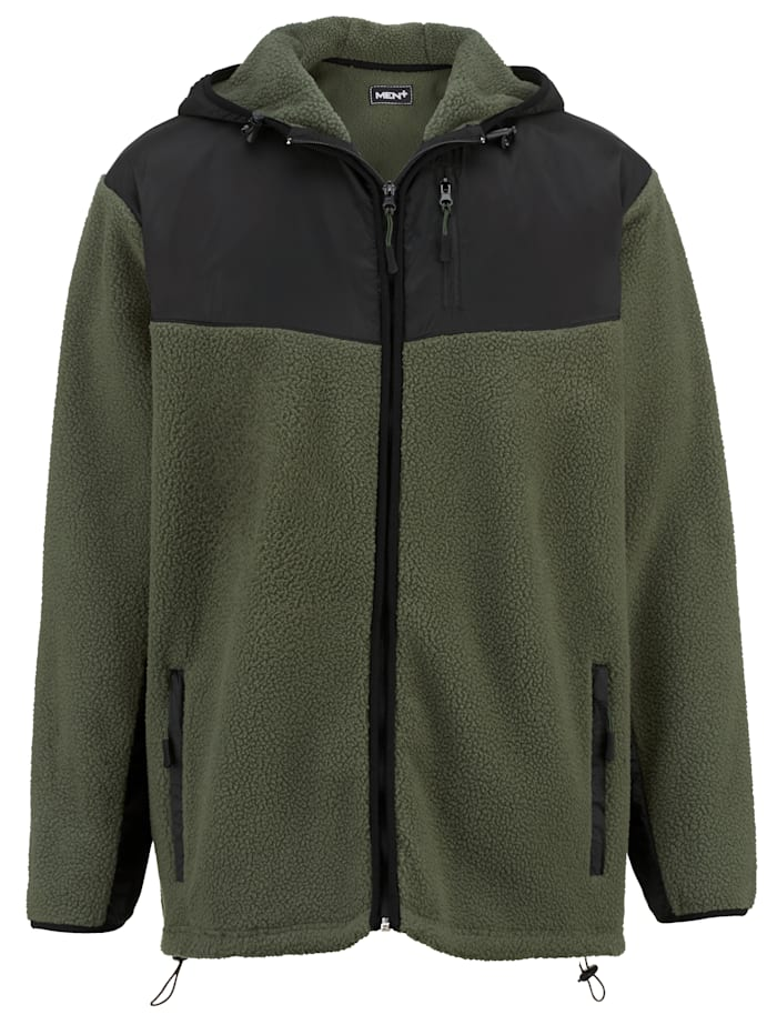 Men Plus Flísová bunda s kapucňou, Tmavozelená/Čierna