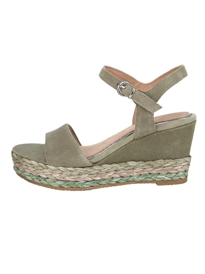 Sandales compensées à talon compensé d'aspect raphia