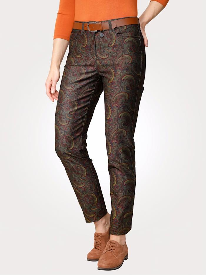MONA Pantalon à coutures contrastantes mode, Multicolore