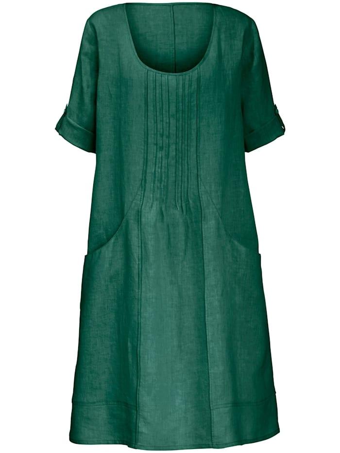 Anna Aura Kleid aus 100% Leinen mit 3/4-Arm, grün