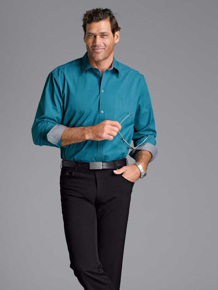 Men Plus Hemd Spezialschnitt, Petrol