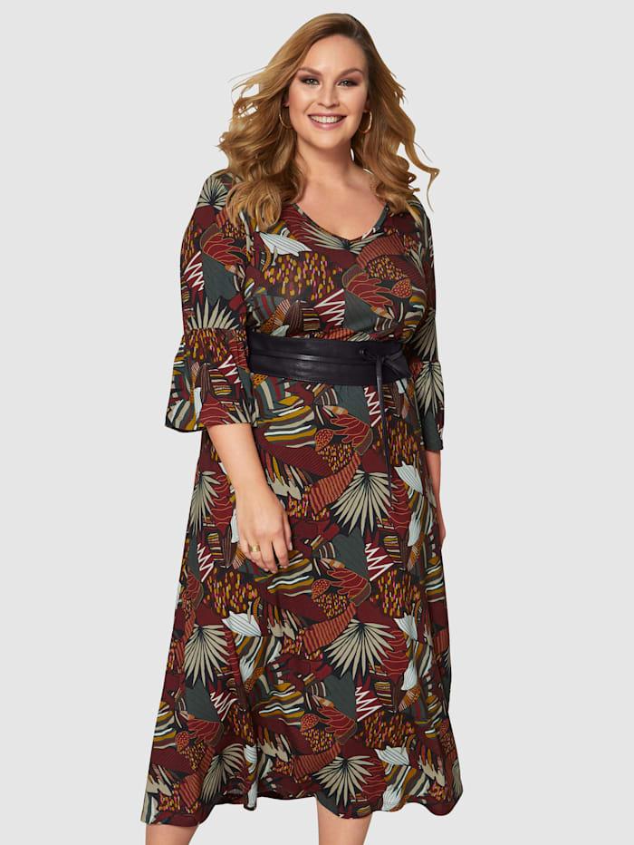 Sara Lindholm Jersey jurk met bloemendessin, Rood/Pink/Prune