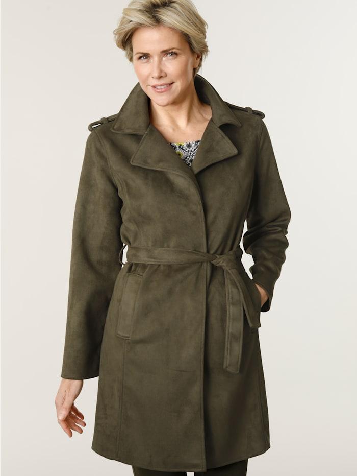 MONA Manteau léger en velours très doux, Olive