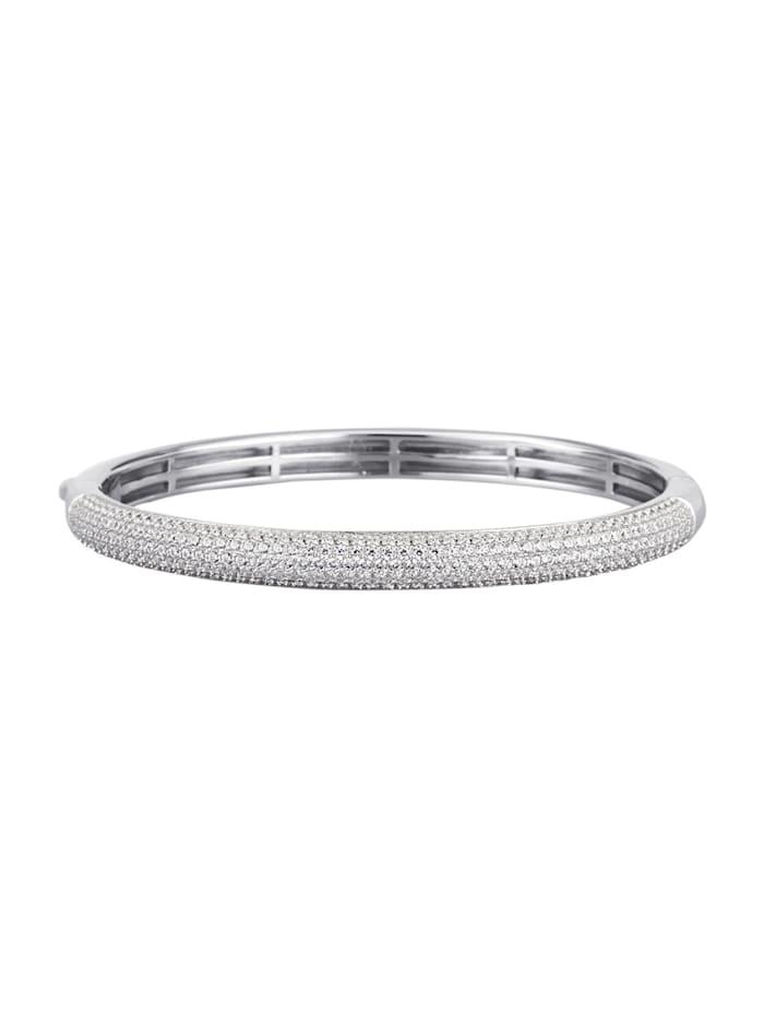 Diemer Silber Armspange mit Zirkonia, Silberfarben