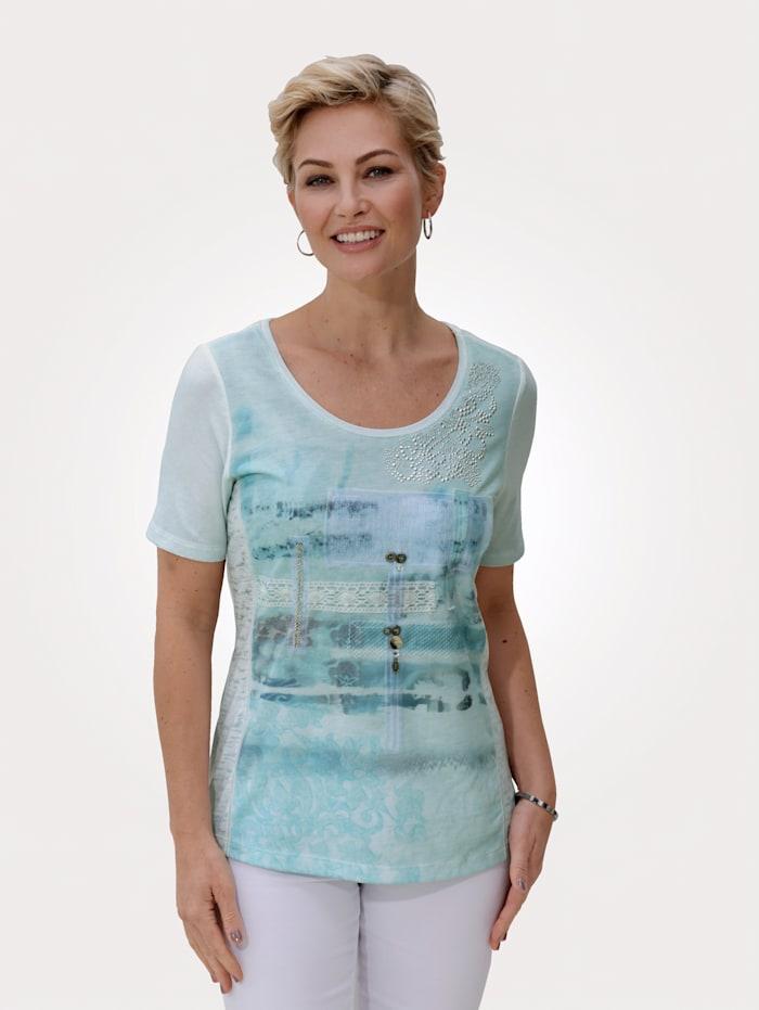 MONA Shirt In patchworklook, Ijsblauw/Zilverkleur