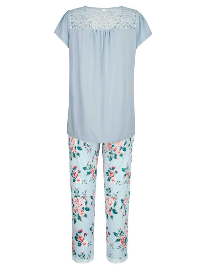 Pyjama met elastische details van kant