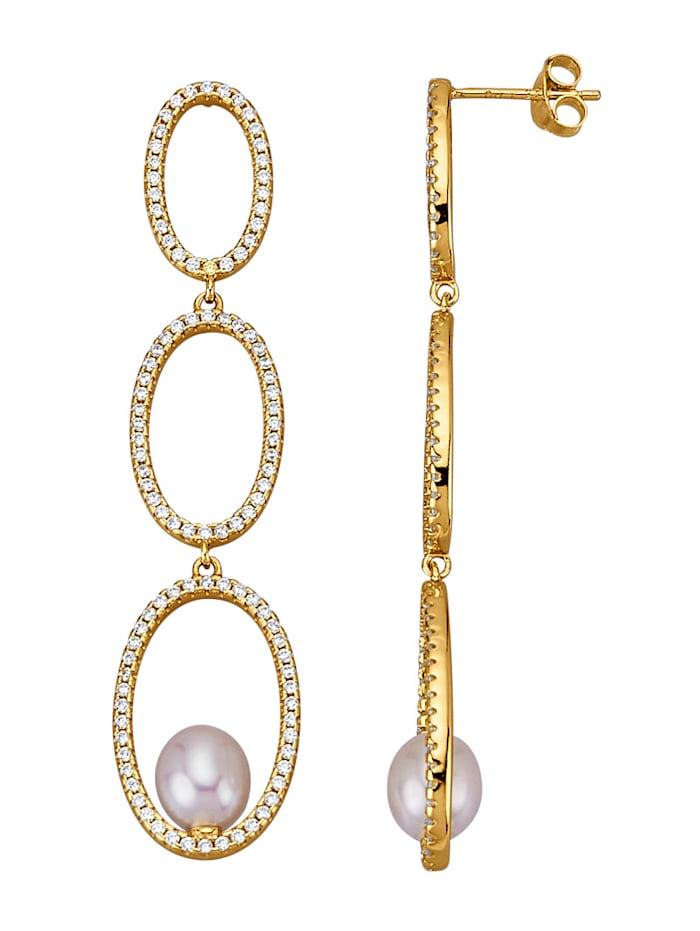 AMY VERMONT Boucles d'oreilles avec perles de culture d'eau douce, Coloris or jaune