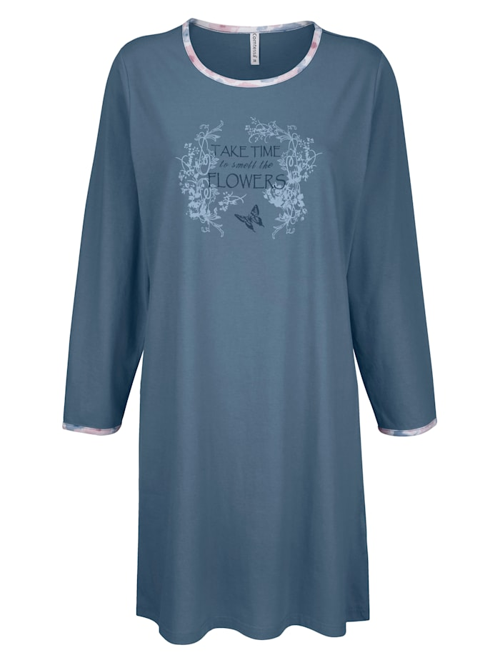 "Comtessa Chemise de nuit en coton issu de l'initiative ""Cotton made in Africa"", Bleu"