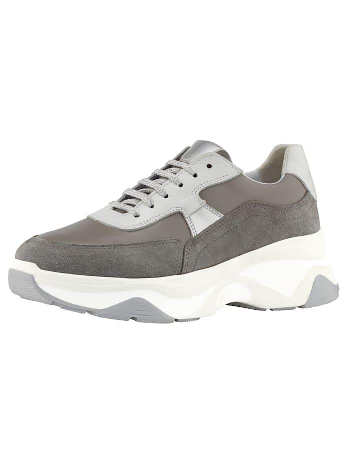 WENZ Sneaker van een mooie leermix, Grijs/Wit/Zilverkleur