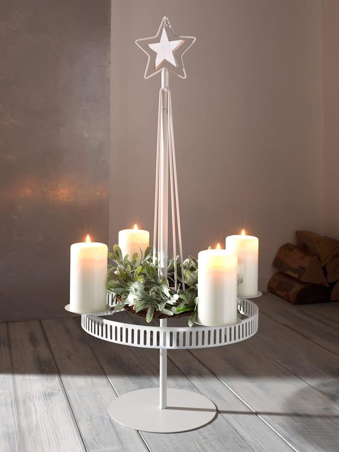 Creativ Deco Ljushållare av metall, för 4 ljus, Vit