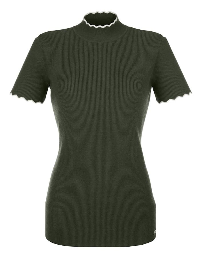 AMY VERMONT Pullover in Rippstrick-Qualität, Khaki/Off-white
