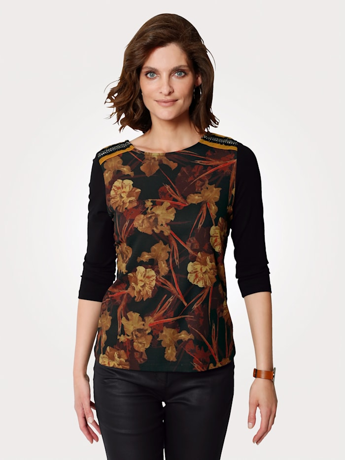 MONA Shirt mit Floraldruck vorne, Schwarz/Gelb