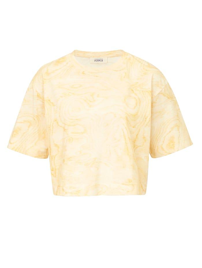 CONLEYS PURPLE T-Shirt mit Batikprint, Sonnengelb