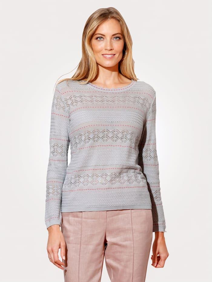 MONA Pullover mit Kontraststrickerei, Grau/Rosé