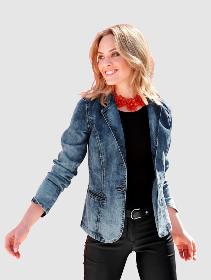 AMY VERMONT Jeansjakke i moderne vask, Blue bleached
