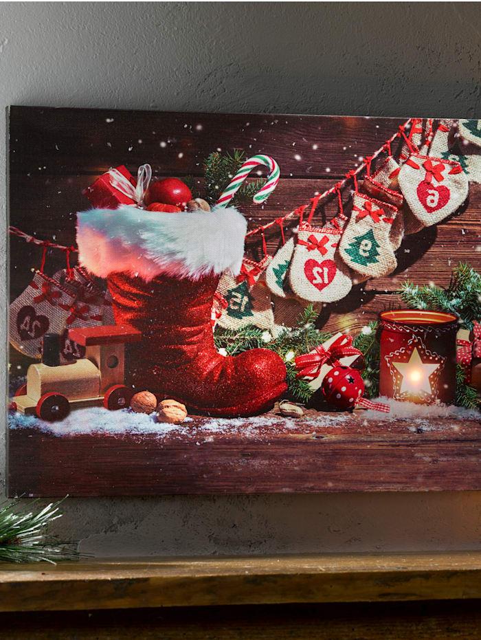 Tewa LED-bilde -Julestrømpe-, Rød